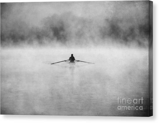 Kayaks Canvas Print - Rowing On The Chattahoochee by Darren Fisher