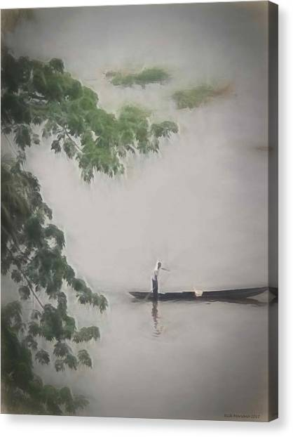 Congo River Canvas Print - Rowing On The River by Nicholas Mariano