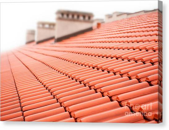 Chimney Tops Canvas Print - Rows Of Red Tiles Roof With Chimneys  by Arletta Cwalina
