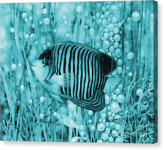 Royal Marines Canvas Print - Royal Angelfish On Blue by Hailey E Herrera