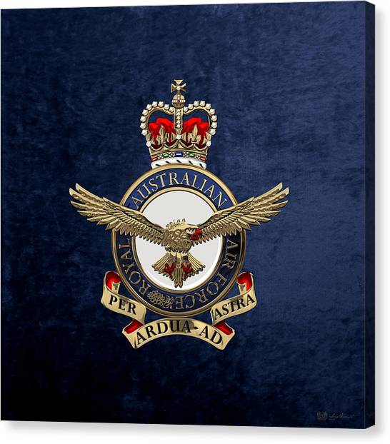 Royal Australian Air Force -  R A A F  Badge Over Blue Velvet Canvas Print