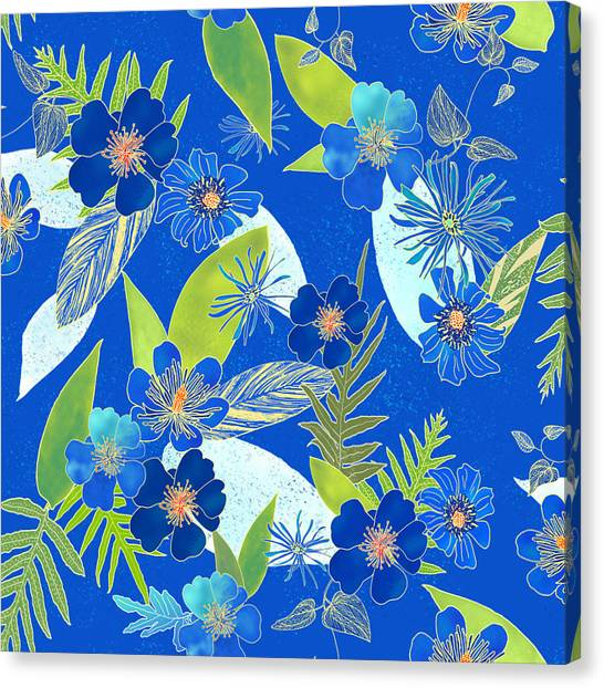 Royal Blue Aloha Tile 3 Canvas Print