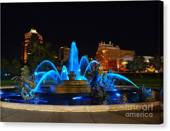 Royal Blue J. C. Nichols Fountain  Canvas Print