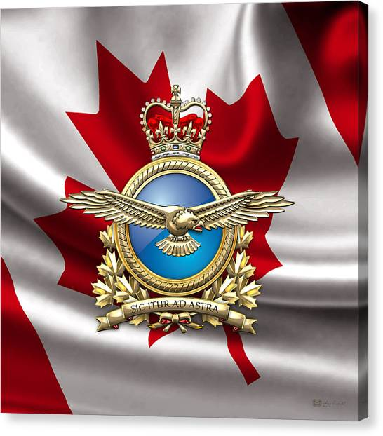 Royal Canadian Air Force Badge Over Waving Flag Canvas Print