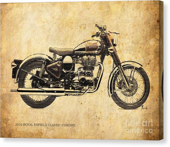 Arte Canvas Print - Royal Enfield Classic Chrome 2016, Poster For Men Cave by Drawspots Illustrations