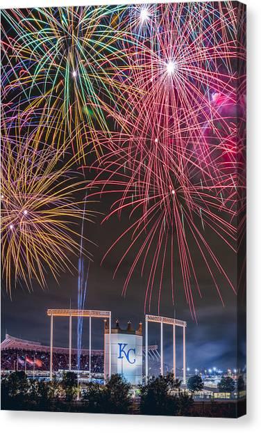 Kansas City Royals Canvas Print - Royal Fireworks by Ryan Heffron