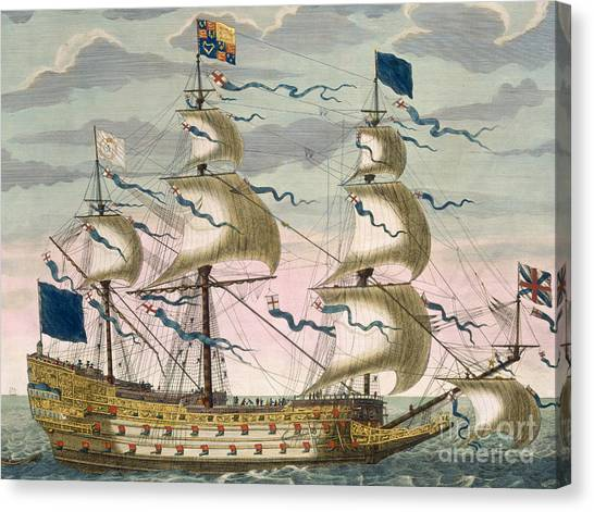 Royal Marines Canvas Print - Royal Flagship Of The English Fleet by Pierre Mortier