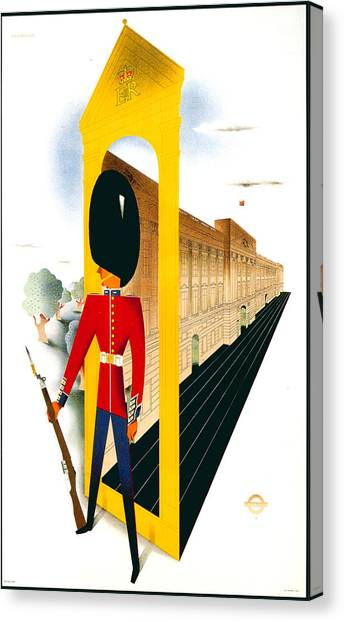 Royal Guard Canvas Print - Royal Guard - The Queen's Guard - London Underground, London Metro - Retro Travel Poster by Studio Grafiikka