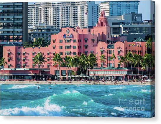 Royal Hawaiian Hotel Surfs Up Canvas Print