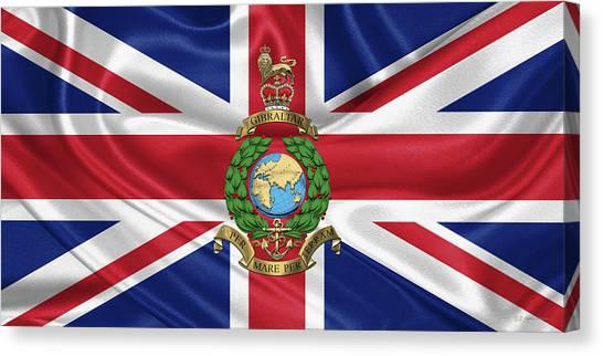 Royal Marines Canvas Print - Royal Marines -  R M  Badge Over British Flag by Serge Averbukh