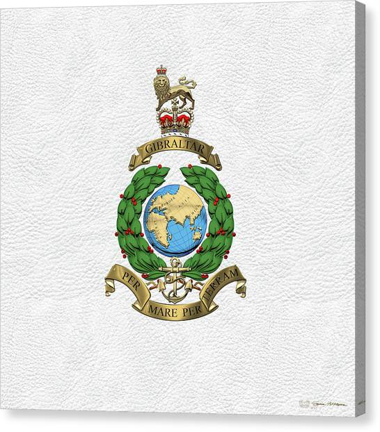 Royal Marines Canvas Print - Royal Marines -  R M  Badge Over White Leather by Serge Averbukh
