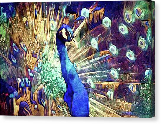 Canvas Print featuring the mixed media Royal Peacock by Susan Maxwell Schmidt