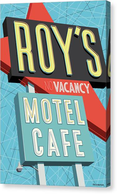 Diners Canvas Print - Roy's Motel Cafe Pop Art by Jim Zahniser