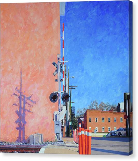 University Of Virginia Canvas Print - Rr Crossing At The Pink Warehouse by Edward Thomas