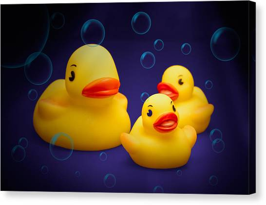 Ducks Canvas Print - Rubber Duckies by Tom Mc Nemar