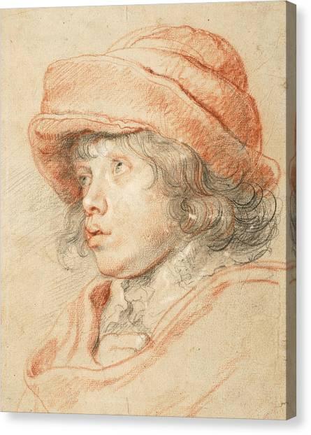 Baroque Canvas Print - Rubens's Son Nicolaas Wearing A Red Felt Cap by Peter Paul Rubens