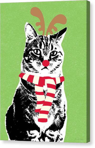 Reindeer Canvas Print - Rudolph The Red Nosed Cat- Art By Linda Woods by Linda Woods