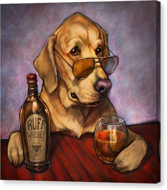 Whiskey Canvas Print - Ruff Whiskey by Sean ODaniels