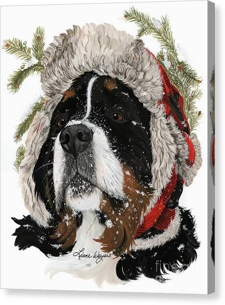 Bernese Mountain Dogs Canvas Print - Ruff Winter by Liane Weyers