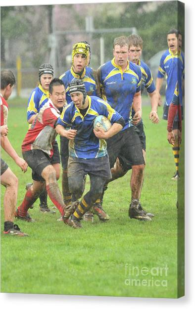 Rugby In The Mud Canvas Print