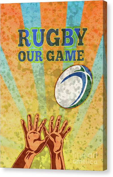 Rugby Player Hands Catching Ball Canvas Print by Aloysius Patrimonio