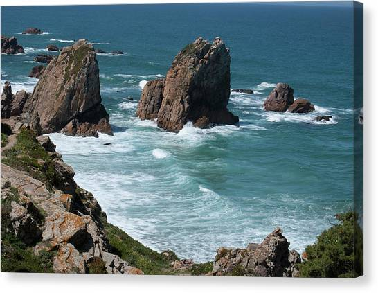Rugged Coastline - Portugal Canvas Print by Connie Sue White