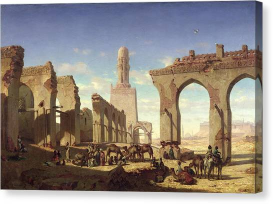 Sahara Desert Canvas Print - Ruins Of The Mosque Of The Caliph El Haken In Cairo by Prosper Georges Antoine Marilhat
