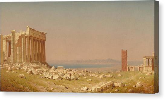 The Acropolis Canvas Print - Ruins Of The Parthenon by Sanford Robinson Gifford