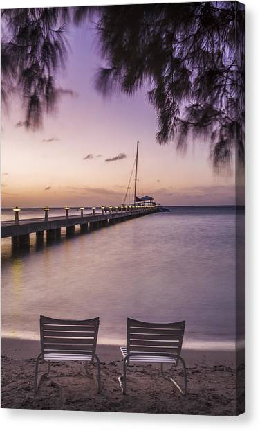 Rum Canvas Print - Rum Point Beach Chairs At Dusk by Adam Romanowicz