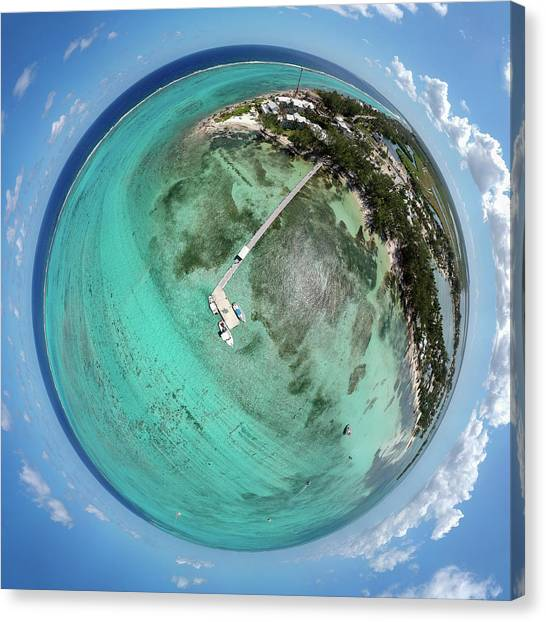 Rum Canvas Print - Rum Point Little Planet by Adam Romanowicz