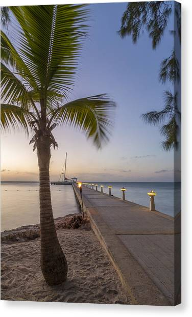 Catamarans Canvas Print - Rum Point Pier At Sunset by Adam Romanowicz