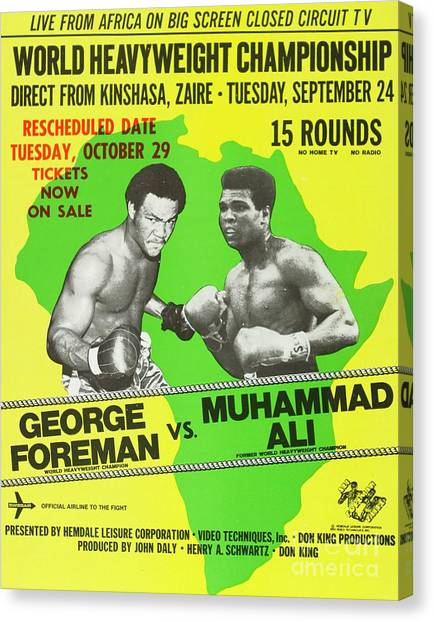 George Foreman Canvas Print - Rumble In The Jungle Rare Vintage Poster Print by Pd