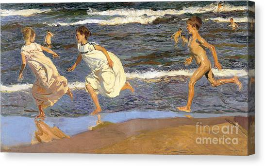 Running Along The Beach Canvas Print