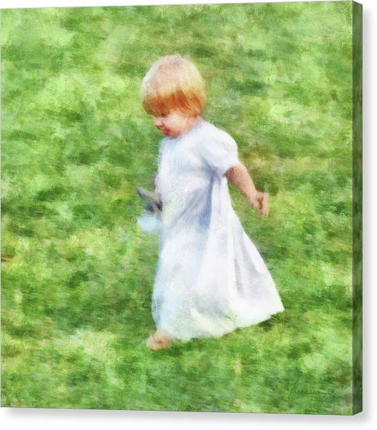 Fun Run Canvas Print - Running Barefoot In The Grass by Francesa Miller