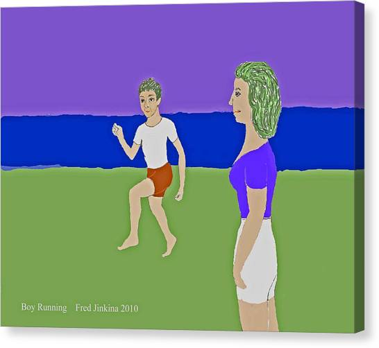 Running Boy Canvas Print by Fred Jinkins