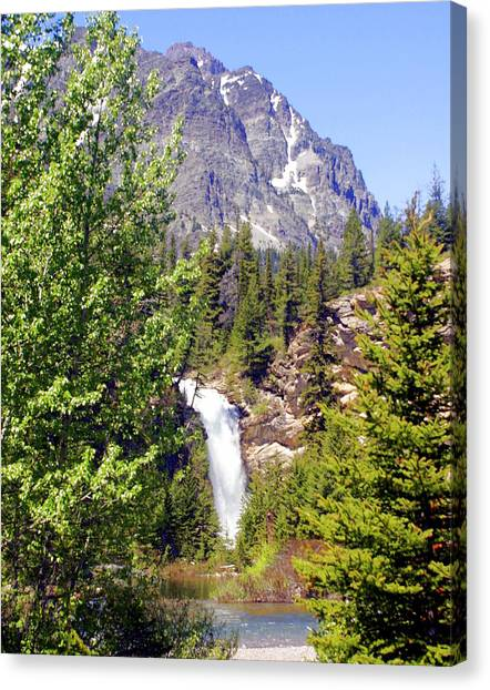 Running Eagle Falls Glacier National Park Canvas Print