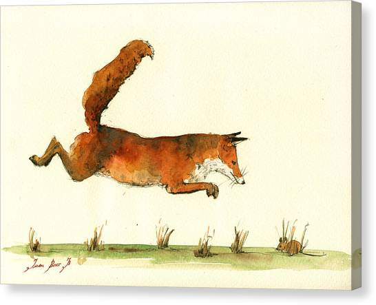 Small Mammals Canvas Print - Running Fox by Juan  Bosco