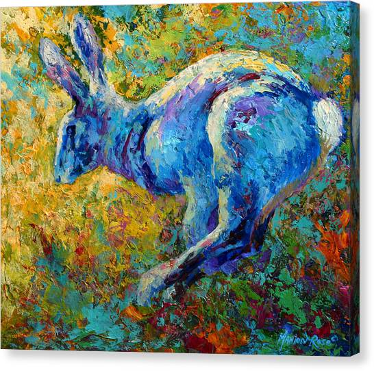 Rabbit Canvas Print - Running Hare by Marion Rose