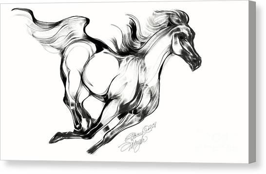 Night Running Horse Canvas Print