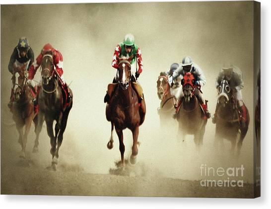 Running Horses In Dust Canvas Print