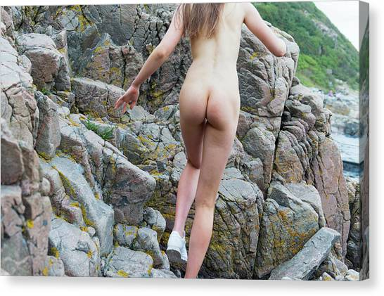 Running Nude Girl On Rocks Canvas Print