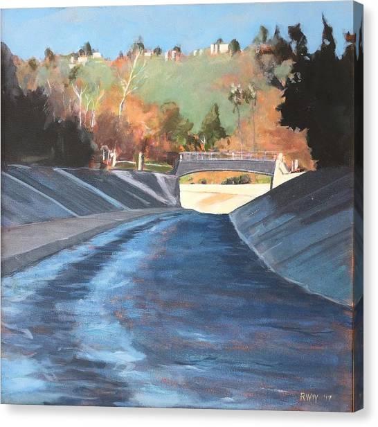 Running The Arroyo, Wet Canvas Print