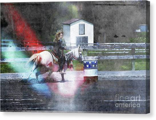 Barrel Racing Canvas Print - Running The Barrel  by Steven Digman