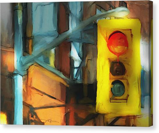 Stoplights Canvas Print - Running The Red by Bob Salo