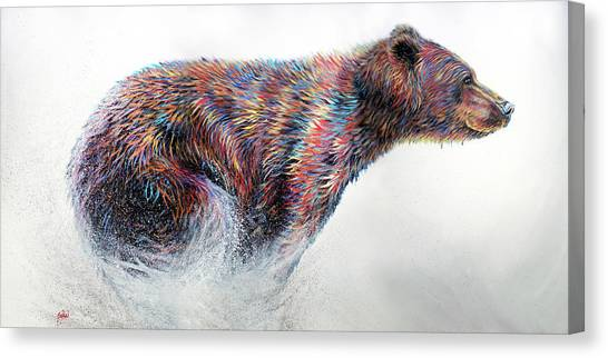 Bear Canvas Print - Running Wild by Teshia Art