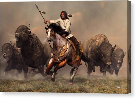 Indians Canvas Print - Running With Buffalo by Daniel Eskridge