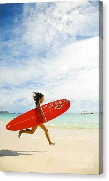 Woman Canvas Print - Running With Surfboard by Dana Edmunds - Printscapes