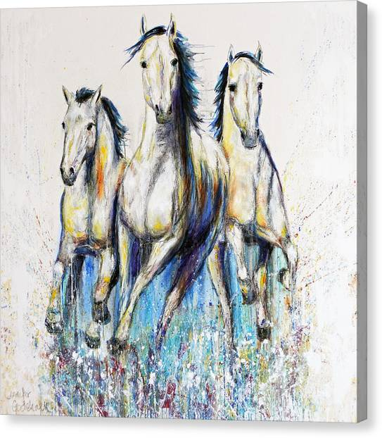 Running With The Herd Horse Painting Canvas Print
