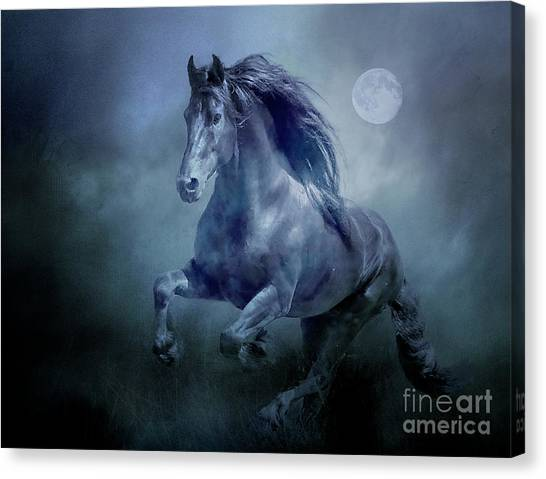 Running With The Moon Canvas Print