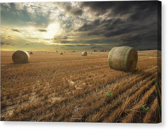 Hay Bales Canvas Print - Runs Out Of Rain by Aaron J Groen
